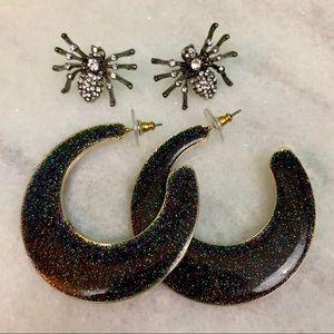 sugarfix by baublebar • glitter hoop earrings set